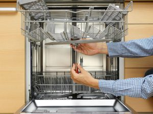 Repairman repairing a dishwasher