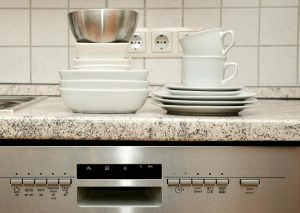 Clean dishware on a dishwasher