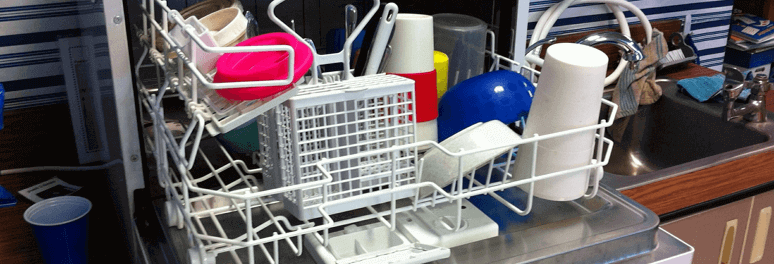 Dishwasher full with dirty dishes