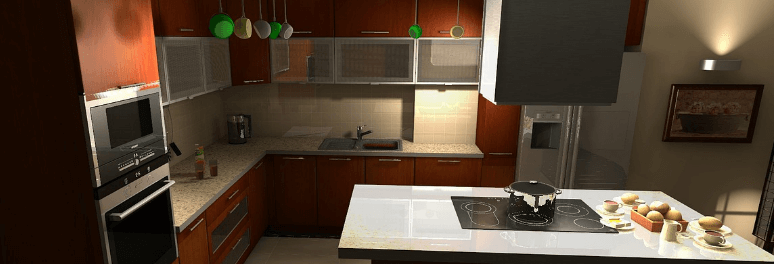 Kitchen with oven, stoves, refrigerator and microwave