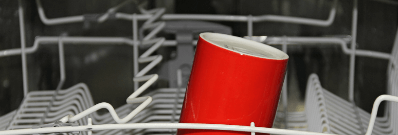 Cups and dishes inside the dishwasher