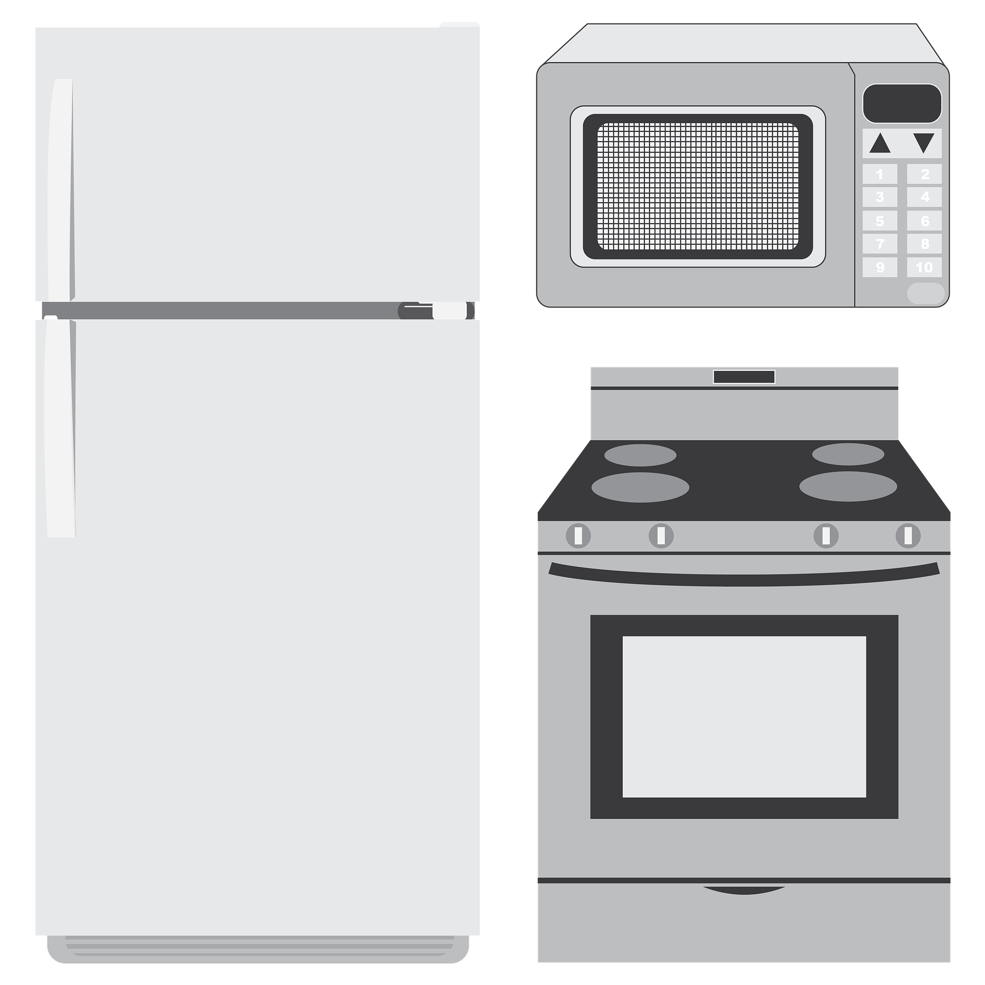 Various kind of appliances including microwave, oven and refrigerator