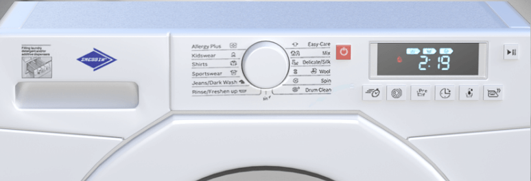 The front panel of washing machine