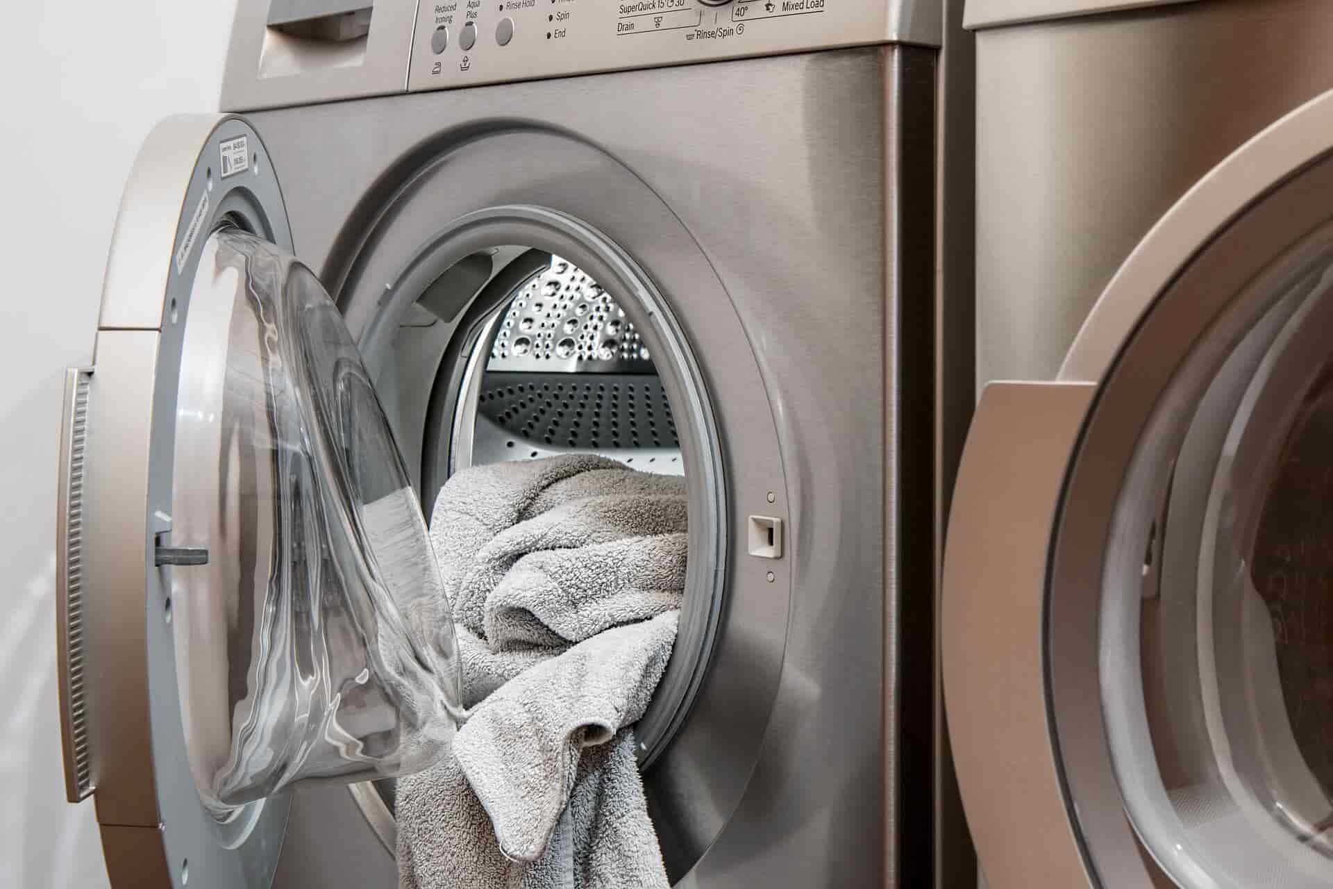 washing machines with clothes inside