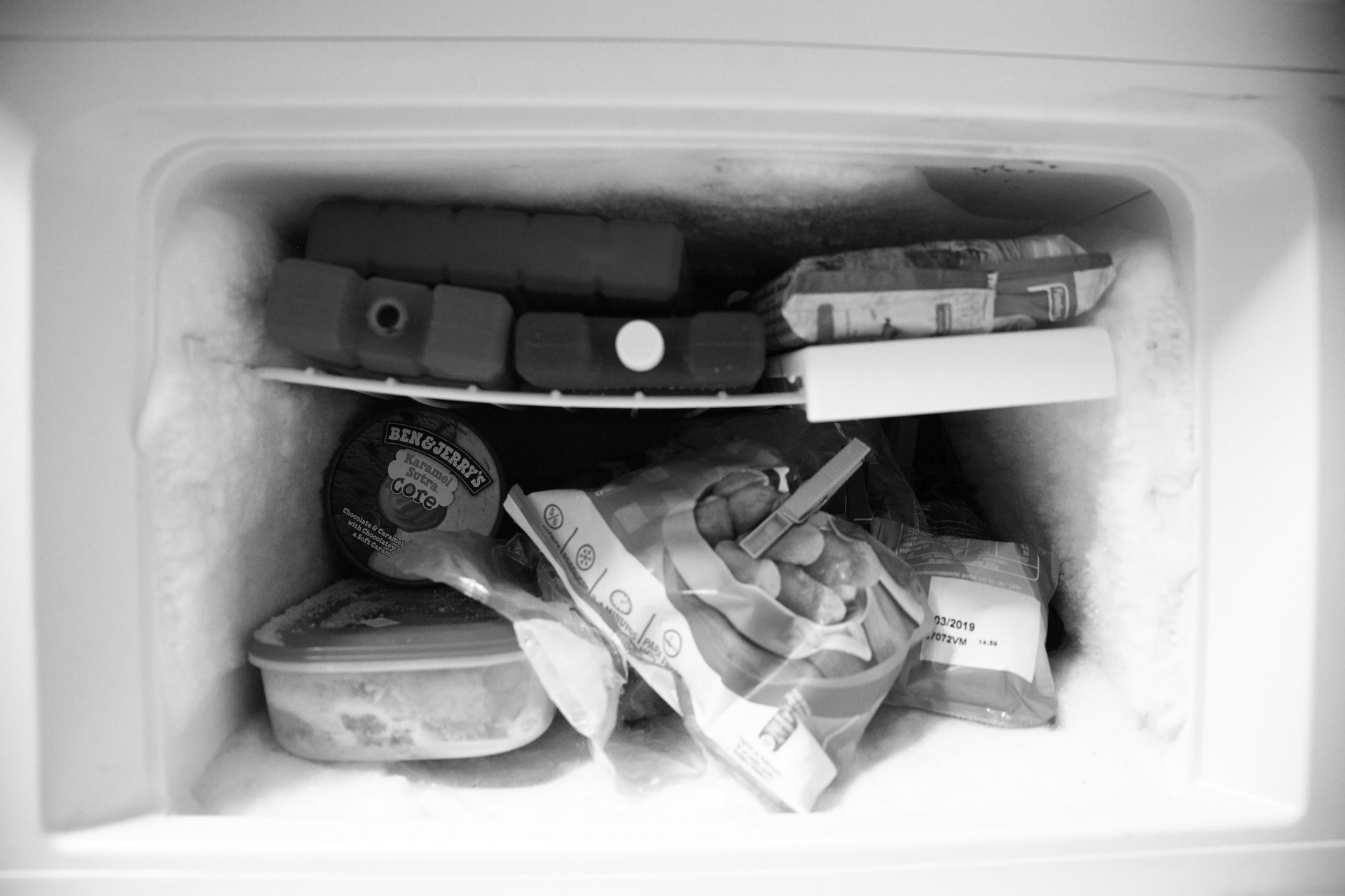 inside of a freezer
