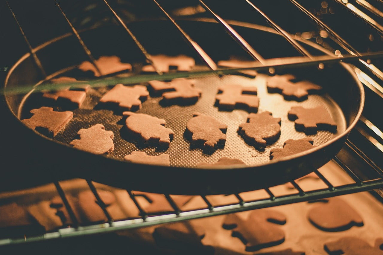 baked cookies in an oven